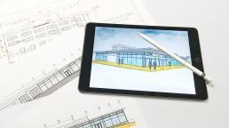 pixelclinic-Design-Grafik-Konzept-Rendering-Sketch-Mockup-Illustration-Umbau-Autohaus-Mulfinger-Backnang-Support-Horn-Werbetechnik-Konzept